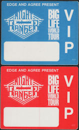 ##MUSICBP0892 - 2 Different Uncommon Night Ranger OTTO Cloth VIP Backstage Passes from the Big Life World Tour