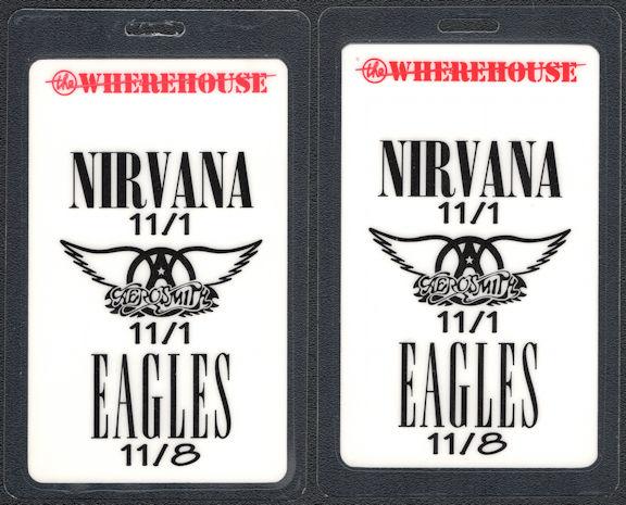 ##MUSICBP0830 - Scarce 1994 Nirvana, Eagles, Aerosmith Promotional Laminated Backstage Pass