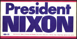 #PL288 - President Nixon Bumper Sticker from the 1972 Election
