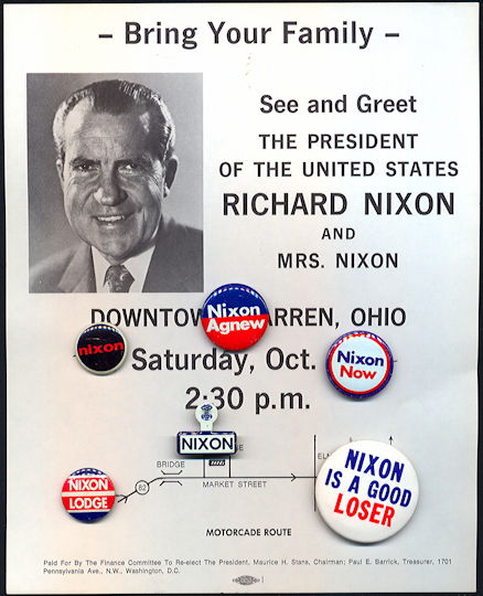 #PL336 - Six Nixon Pinbacks plus Flyer for Nixon's 1972 Campaign Visit to Warren, Ohio