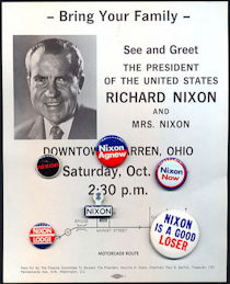 #PL336 - Six Nixon Pinbacks plus Flyer for Nixon's 1972 Campaign Visit to Warren, Ohio
