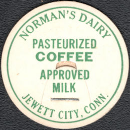 #DC251 - Norman's Dairy Pasteurized Coffee Approved Milk Bottle Cap - Jewett City, CT