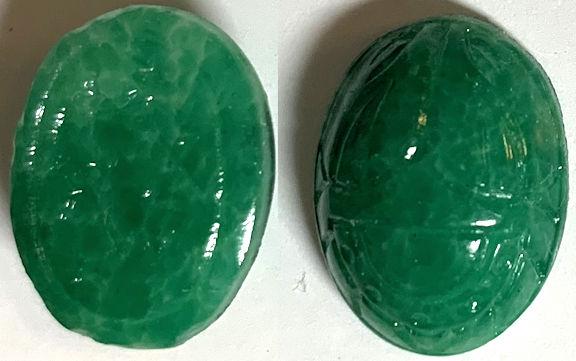 #BEADS0880 - 16mm Green Matrix Glass Scarab Cabochon