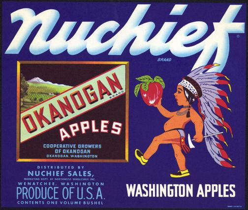 #ZLC291 - Nuchief Okanogan Brand Apples Crate Label
