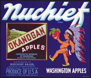 #ZLC291 - Nuchief Okanogan Brand Apples Crate Label
