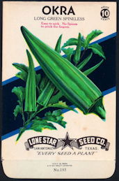 #CE064 - Spineless Okra Lone Star 10¢ Seed Pack - As Low As 50¢ each