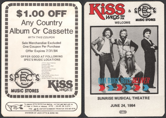 ##MUSICBP0661 - Oakridge Boys OTTO Cloth Backstage Pass from the from the 1984 Concert at Sunrise Musical Theatre