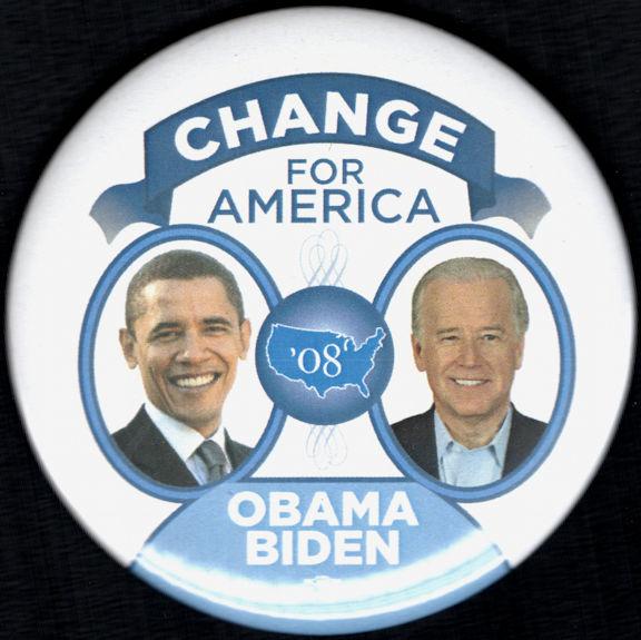 #PL353 - Large Obama Biden 08 Election Campaign Jugate Pinback