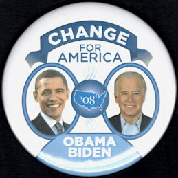 #PL353 - Large Obama Biden 08 Election Campaign Jugate Pinback