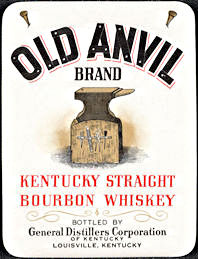 #ZLW172 - Uncommon Old Anvil Brand Kentucky Straight Bourbon Whiskey Bottle Label