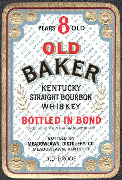 #ZLW174 - Group of 5 Old Baker Brand Kentucky Straight Bourbon Whiskey Bottle Labels