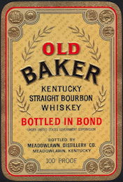 #ZLW156 - Old Baker Kentucky Straight Bourbon Whiskey Bottle Label