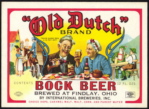 #ZLBE090 - Old Dutch Brand Bock Beer Bottle Label - Findlay, Ohio