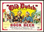 #ZLBE090 - Old Dutch Brand Bock Beer Bottle Label - Findlay, Ohio