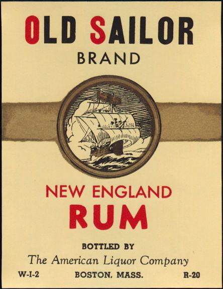 #ZLW165 - Scarce Old Sailor New England Rum Bottle Label