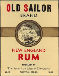 #ZLW165 - Scarce Old Sailor New England Rum Bottle Label