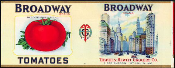 #ZLCA278 - Scarce Broadway Tomatoes Can Label