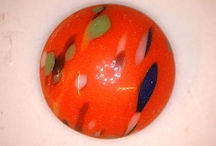 #BEADS0620 - 13mm Diameter Orange Base Color Splashed Glass Cabochon
