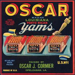 #ZLC427 - Rare Oscar Yams Crate Label - Academy Award Oscar Statue