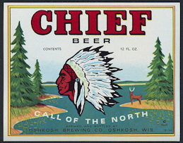 #ZLBE099 - Chief Beer Bottle Label Picturing Chief Oskosh - As low as 50¢ each