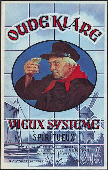 #ZLW157 - Oude Klare Vieux Systeme Dutch Liquor Bottle Label