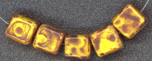 #BEADS0562 - Spectacular Czech Picasso Glass Cube Bead - as low as 15¢
