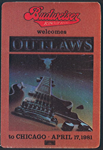 ##MUSICBP0294 - Outlaws OTTO Cloth Promotional Pass from 1981 Ghost Riders Tour