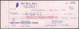 #ZZZ190  - Group of 4 Owl Drug Store Checks - Astoria, OR