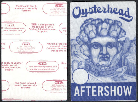 ##MUSICBP0660 - Oysterhead OTTO Cloth Backstage After Show Pass from the from the 2001 Grand Pecking Order Tour