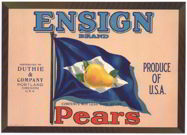 #ZLC188 - Ensign Pear Crate Label - Orange Background