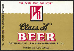 #ZLBE079 - Packard-Bamberger PB Beer Label