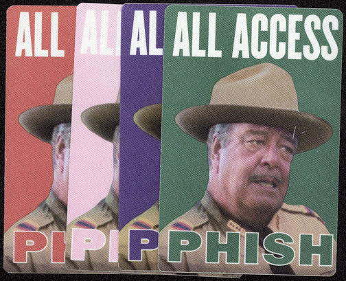 ##MUSICBP0019 - Four Different Colored Jackie Gleason PHISH OTTO BackStage Passes from the late 1990s