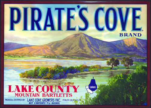 #ZLC305 - Pirate's Cove Brand Mountain Bartletts Pear Crate Label