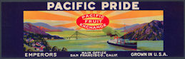 #ZLSG069 - Pacific Pride Grape Crate Label - Golden Gate Bridge