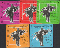 ##MUSICBP0841 - Group of 5 Different Colored Jimmy Page Robert Plant (Led Zeppelin) OTTO Cloth Photo Backstage Passes from the 1995 Tour