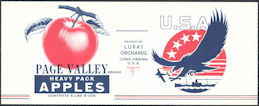 #ZLCA304 - Group of 4 Uncommon WWII Page Valley Apple Sauce Labels
