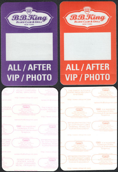 ##MUSICBP0002 - Two Different OTTO Cloth B. B. King Blues Club Backstage Passes