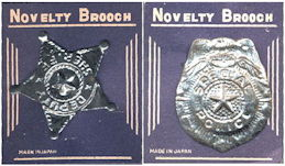 #TY678 - Pair of Carded Tin Sheriff and Special Police Novelty Brooch Badges - Made in Japan
