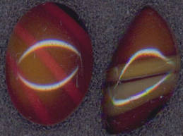 #BEADS0276 - Pair of Two Different Tiger Eye Type Cabochons