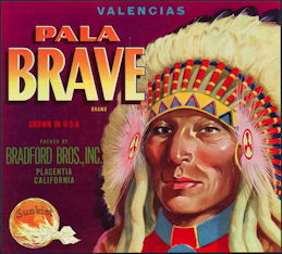 #ZLC308 - Pala Brave Sunkist Orange Crate Label
