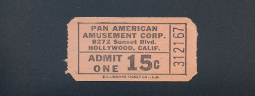 #MS279 - 1950s Ride Ticket for Pan American Amusements in Hollywood, CA - As low as 25¢