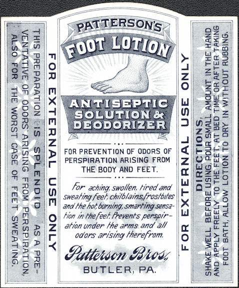 #ZBOT227 - Patterson's Foot Lotion Bottle Label - Large Foot Image