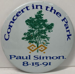 ##MUSICBG0124 - Large Paul Simon Pinback for 8/15/1991 Concert in the Park