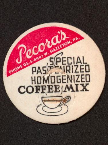 #DC183 - Pecora's Special Coffee Mix Milk Bottle Cap - Hazleton, PA
