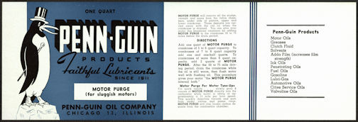 #ZLCA201 - Penn-Guin Products Motor Purge Car Product Can Label