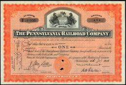#ZZCE005 - Pennsylvania Railroad Company Stock Certificate - Horse Logo