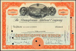 #ZZCE006 - Pennsylvania Railroad Company Stock Certificate - Horseshoe Curve