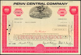 #ZZCE007 - Penn Central Stock Certificate