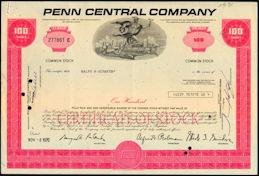 #ZZCE007 - Penn Central Stock Certificate