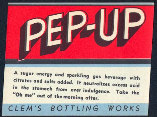 #ZLS195 - Pep-Up Soda Bottle Label - As Low as 25¢ each